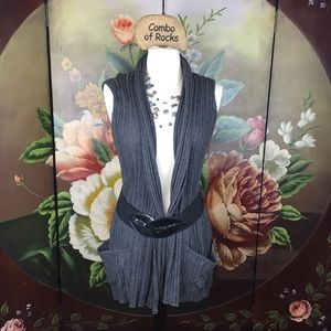 NEW It's Our Time Belted Sweater Vest Cardigan
